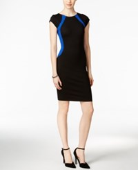 Bar Iii Cap Sleeve Colorblocked Sheath Dress Only At Macy's Black Combo