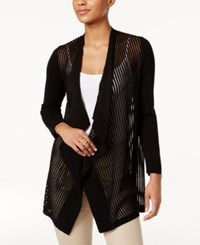 Jm Collection Draped Shadow Stripe Cardigan Only At Macy's Deep Black