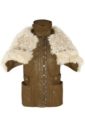 Alexander Mcqueen Shearling And Leather Biker Vest Army Green