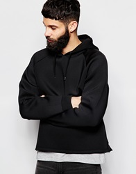 Asos Cropped Hoodie In Scuba With Side Zips Black