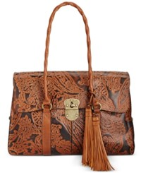 Patricia Nash Burnished Tooled Lace Vienna Satchel Tooled Rust