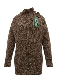 Toga Detachable Brooch Ribbed Wool Blend Sweater Brown