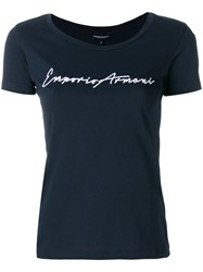 Emporio Armani Logo Embroidered Slim Fit T Shirt Blue