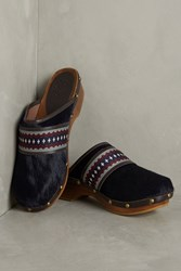 Anthropologie Penelope Chilvers Braided Pony Hair Clogs Blue Motif