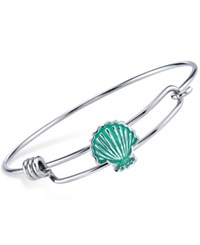 Disney Little Mermaid Enamel Shell Bangle Bracelet In Sterling Silver Plating And Stainless Steel