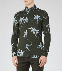 Reiss Oaker Mens Floral Print Shirt In Green