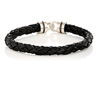 Zadeh Men's Sterling Silver And Braided Leather Bracelet Black No Color Black No Color