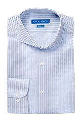 Vince Camuto White Blue Satin Stripe Modern Fit Shirt