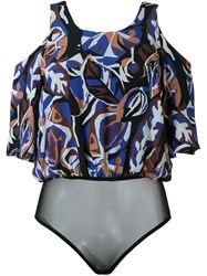 Andrea Marques Printed Bodysuit Blue