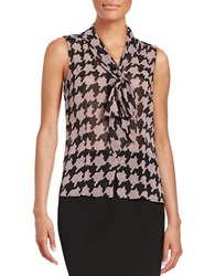Tahari By Arthur S. Levine Plus Houndstooth Tie Blouse
