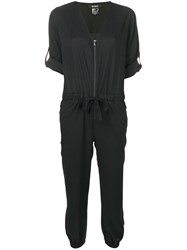 Dkny Relaxed Fit Zip Up Jumpsuit Black