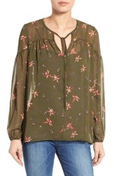 Gibson Women's Sheer Peasant Blouse Olive Floral