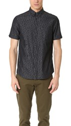 Ben Sherman Short Sleeve Chambray Floral Shirt True Black