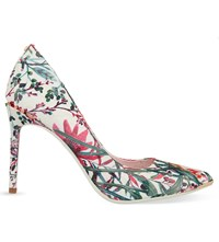 Ted Baker Floral Print Pointed Toe Courts Nude Pink