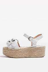 Topshop Wendy Bow Wedges White