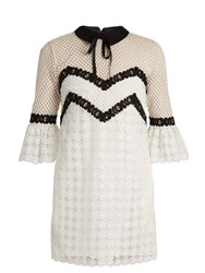 Self Portrait Tie Collar Petal Lace Mini Dress White Black