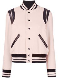 Saint Laurent Varsity Jacket Women Cotton Lamb Skin Polyamide Virgin Wool 36 Pink Purple