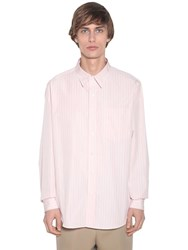 Ami Alexandre Mattiussi Striped Regular Cotton Poplin Shirt Pink