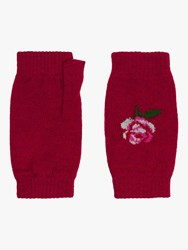 Brora Cashmere Fingerless Rose Gloves Chilli