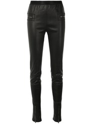 Tom Ford Zipped Pocket Leggings Lamb Skin Spandex Elastane Black