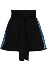 3.1 Phillip Lim Woman Tie Front Striped French Cotton Terry Shorts Black