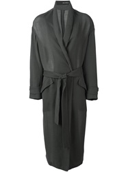 Isabel Benenato Long Belted Coat Grey