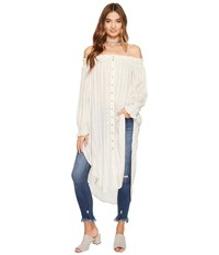 Free People Wild Adventures Maxi Shirt Natural Women's Clothing Beige