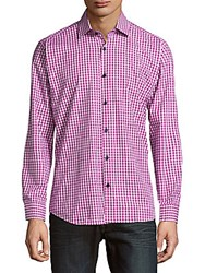 Jared Lang Button Down Check Shirt Dark Purple