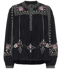 Isabel Marant Dyron Embroidered Silk Blouse Black
