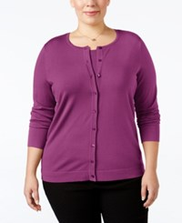 August Silk Plus Size Blend Cardigan Purple