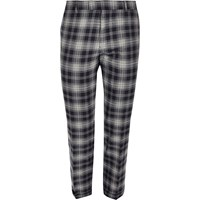 River Island Mensblue Checked Stretch Cropped Slim Fit Trouser