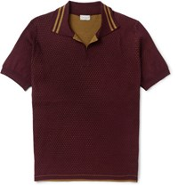 Dries Van Noten Slim Fit Double Faced Cotton Polo Shirt Burgundy