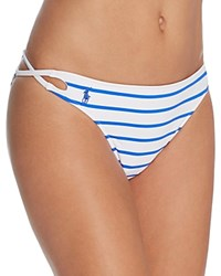 Ralph Lauren Polo French Stripe Laced Side Hipster Bikini Bottom Blue