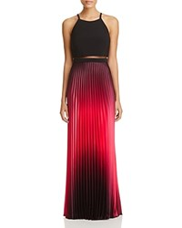 Aqua Ombre Illusion Gown Black Fuchsia