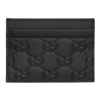 Gucci Black Leather Gg Card Holder