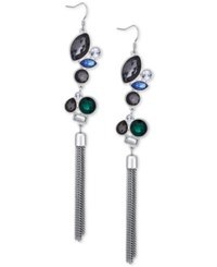 Guess Silver Tone Crystal Fringe Earrings Multi