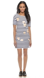 Band Of Outsiders Rose Print Boat Neck Dress White