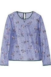 Mary Katrantzou Glitter Embellished Tulle Top Blue