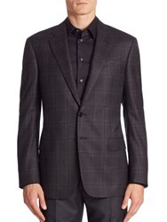 Giorgio Armani Soft Model Plaid Sport Coat Slate