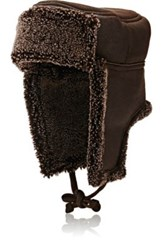 Barneys New York Women's Shearling Trapper Hat Brown