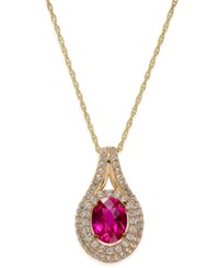Macy's Lab Created Ruby 2 Ct. T.W. And White Sapphire 3 4 Ct. T.W. Pendant Necklace In 14K Gold Plated Sterling Silver Yellow Gold