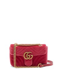 Gucci Gg Marmont Mini Quilted Velvet Cross Body Bag Pink