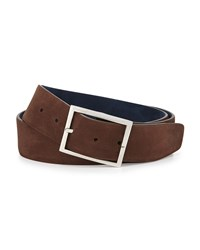 Simonnot Godard Reversible Suede Belt Brown Navy