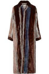 Y Project Paneled Faux Fur And Tartan Twill Coat Brown