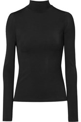 The Row Rudd Stretch Jersey Turtleneck Top Black