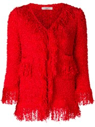 Charlott Frayed Edge Jacket Red