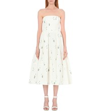 Erdem Strapless Floral Embroidered Midi Dress Ditsy