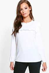 Boohoo Ruffle Neck And Cuff Blouse Ivory