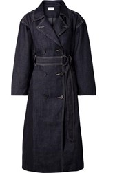 Current Elliott The Hh Club Belted Double Breasted Denim Trench Coat Dark Denim
