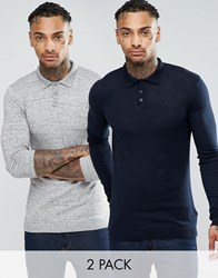 Asos Muscle Fit Knitted Polo Jumper 2 Pack Navy And Lt Grey Slub